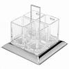 Porta-talheres Cristal Aço Inox Torcello 24x22cm