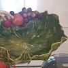 Bowl  porcelana Vitória verde c/aplicação de frutas (11A X 26D)