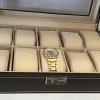 Porta Relógio em Caixa Couro Ecológico  Marrom 29 x 21 x 8 cm