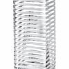Vaso Quadrado Listras Prata em Vidro 30 cm