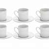 Xícara Café Double Filet Platine Porcelana Limoges 120ml 6 Peças