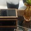 Caixa Vidro Preta com Madeira 17,5x17,5x10cm