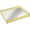 Bandeja Retangular Dourada Espelho 26x19x4cm