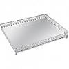 Bandeja Prata em Metal com Espelho 30,5x23,5x4cm