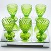 Taça Verde Abacaxi em Vidro Trabalhado 17x9x9cm