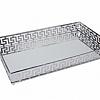 Bandeja Espelhada Metal Prata 30x11x5cm